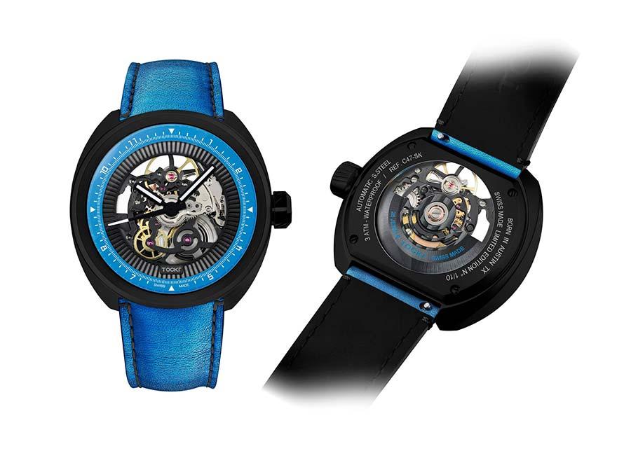 Tockr C-47 Skeleton HUGO blue watch